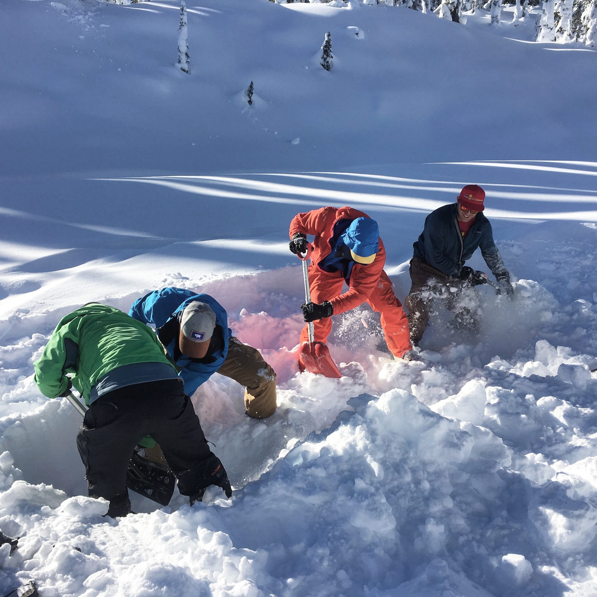 avalanche safety, avalanche rescue course, strike team shovelling